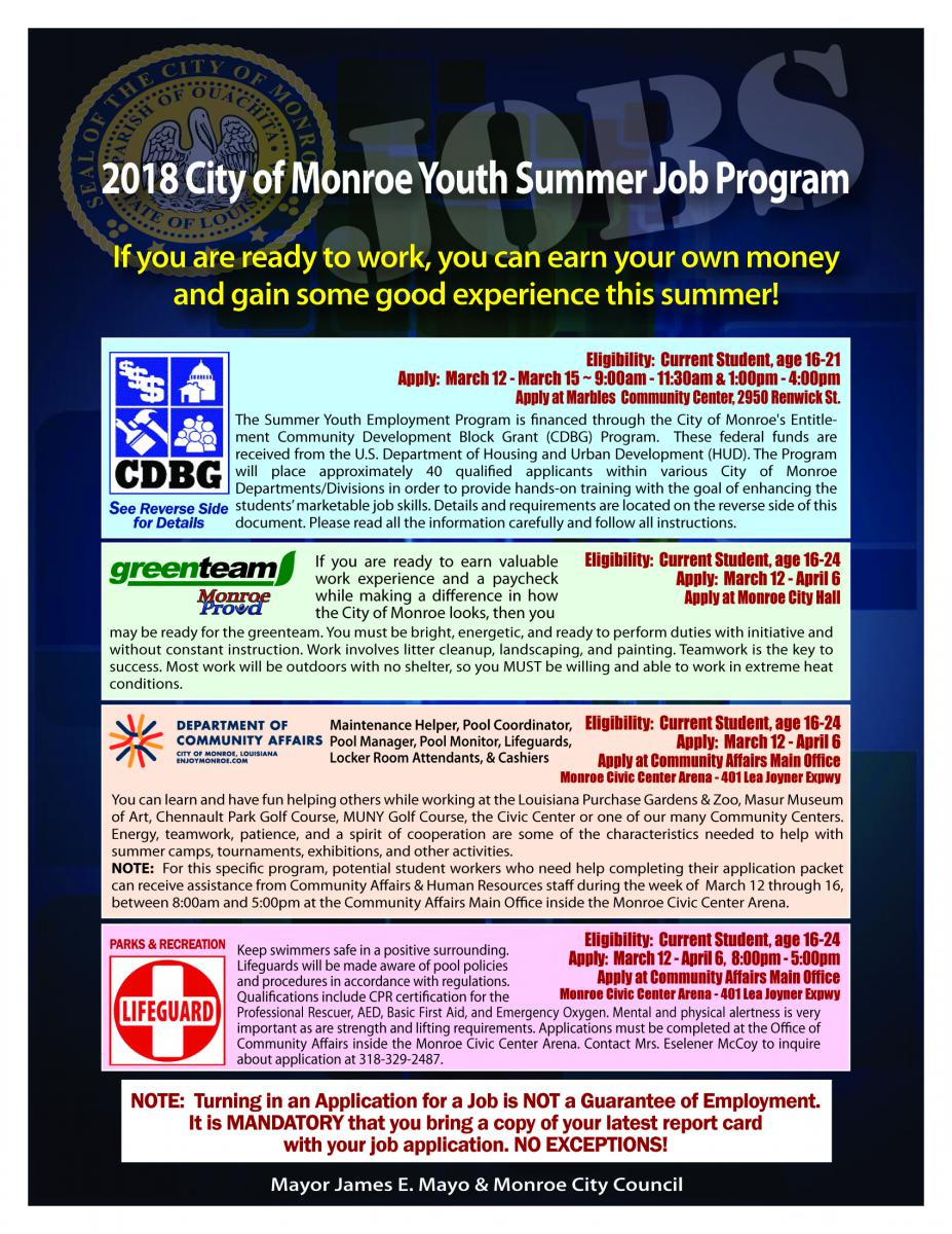 2018 City of Monroe Youth Summer Job Program