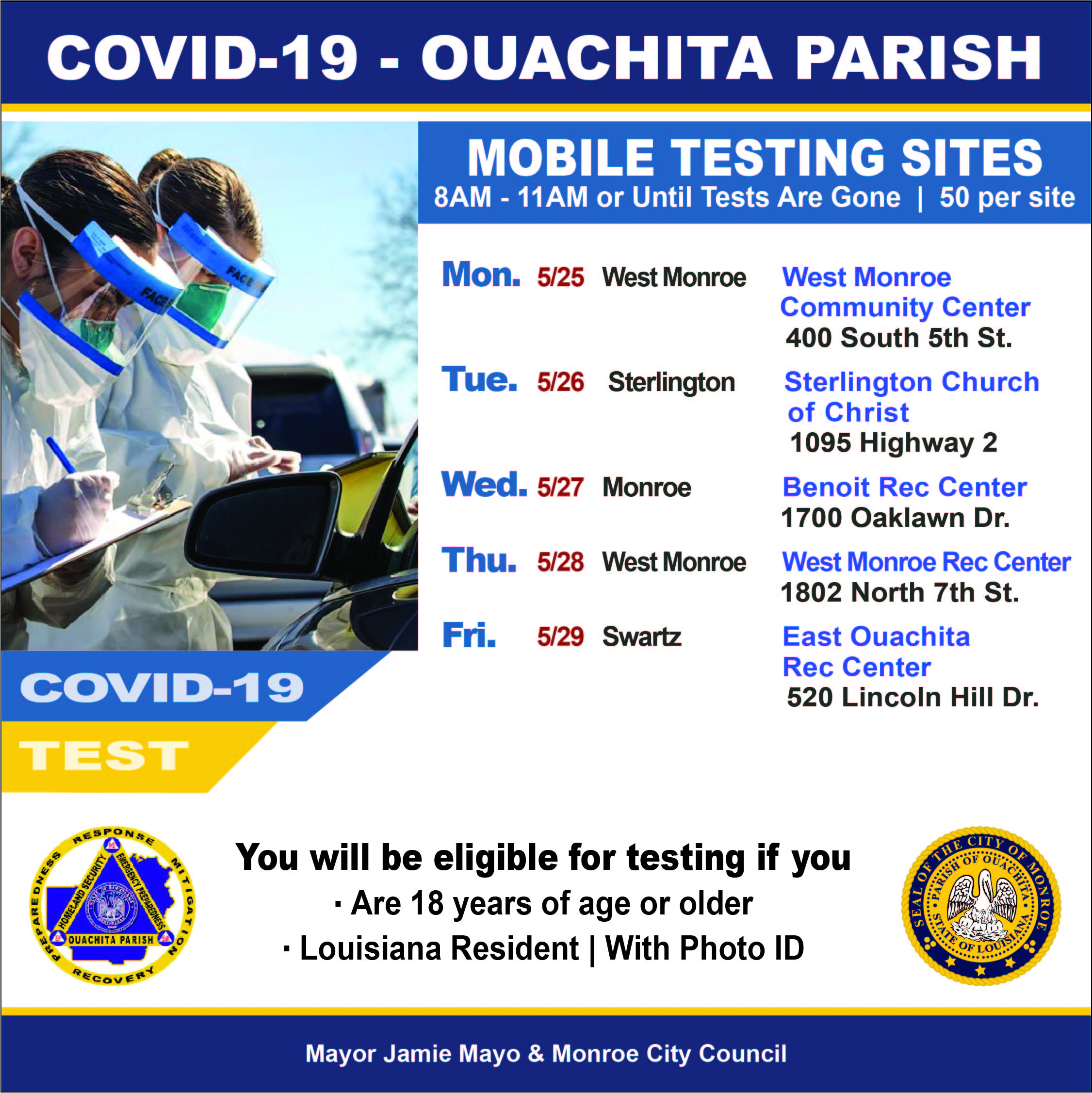 COVID-19 Testing Week 2 - All inclusive Ouachita Parish List.jpg