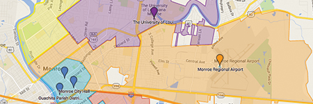 City Council MAp of City of Monroe, la