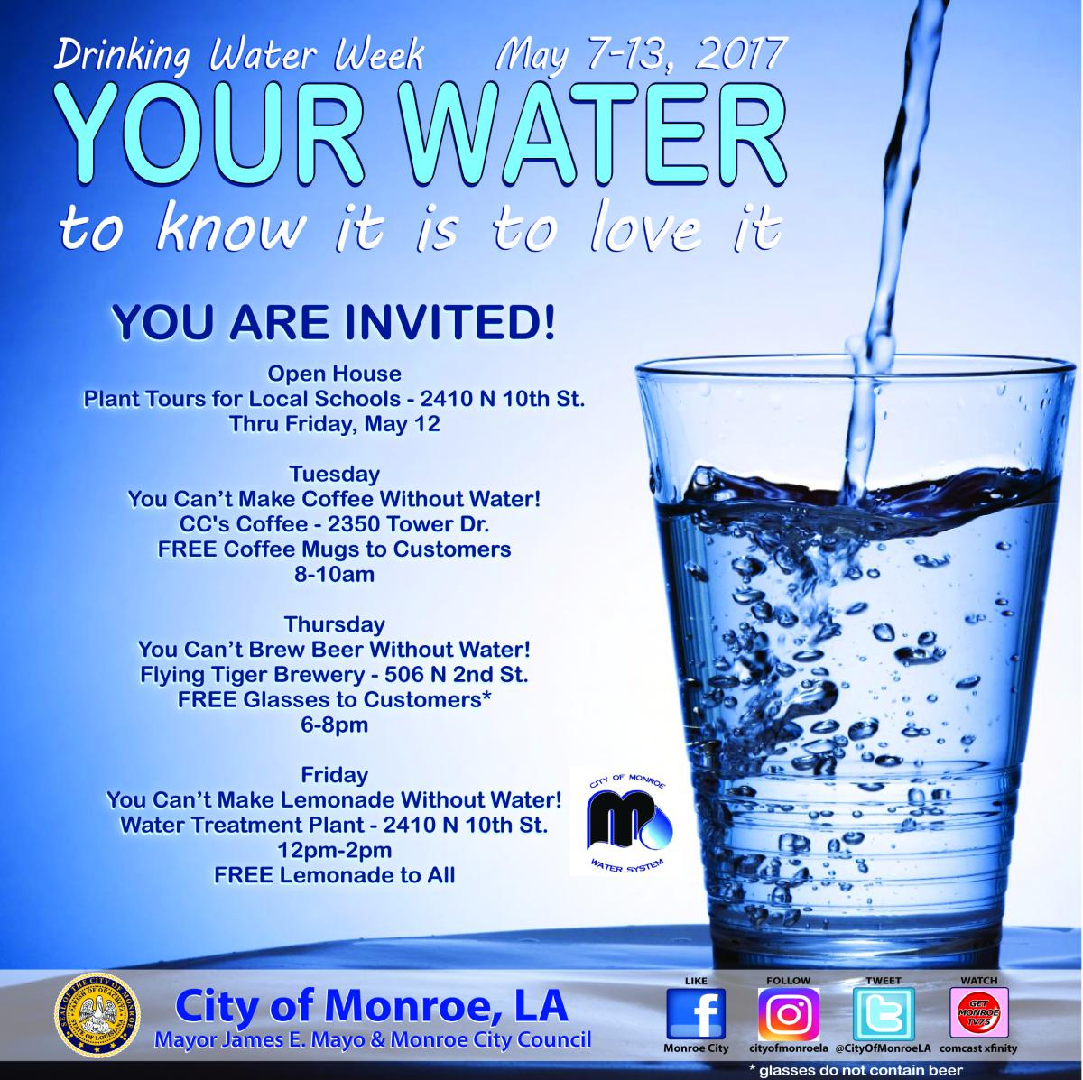 Drinking Water Week Open House City Of Monroe Louisiana