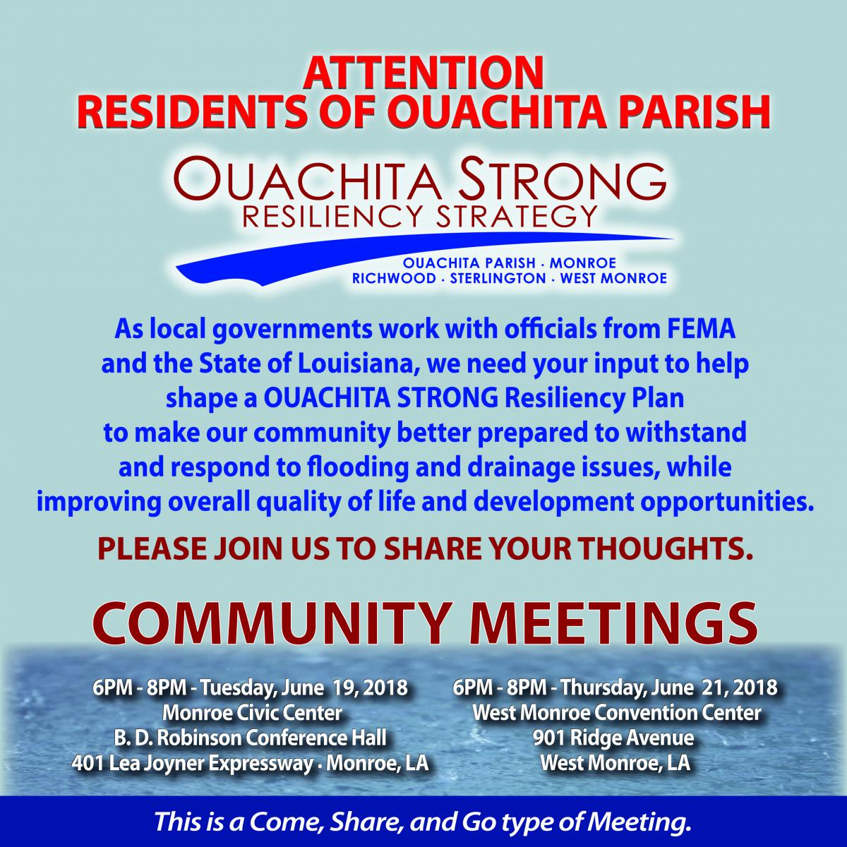 Ouachita Strong Resiliency Strategy - Community Meeting