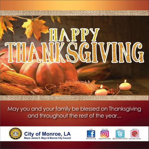 Thanksgiving Holiday Closures & Garbage Schedule